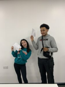 Isabelle and Tayon celebrate their A Level results