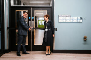 The Mayor of Reading, David Stevens opens the Reading hub of the South Central Institute of Technology with Activate Learning's Chief Executive Sally Dicketts