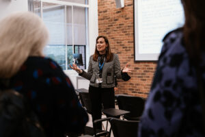 Holly Perrett, Partnership Engagement Manager at Activate Learning, gives an introductory talk at the Reading hub of the South Central Institute of Technology